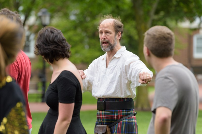 "Terry Harvey, UD associate professor of computer and information sciences, discovered Scottish country dance in 1983, when he was a student at the University. Now, he's a certified instructor who teaches all over the world, and he advises the Scottish Country Dance Club on campus, pictured here. ""The Delaware Valley has such a  strong contingent of Scottish dancers,"" Harvey said. ""If you travel to Boston or Atlanta or New York to dance, you will find people who started here."""