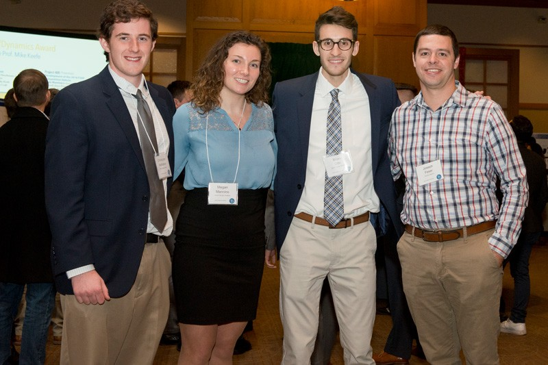 Engineering students Christopher McMahon, Megan Mannino and Brian Otto worked under the advisement of Joseph Feser (far right), an associate professor of mechanical engineering.