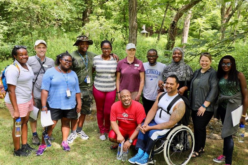 The 2017 UD Mandela Washington Fellowship group gathers during an outing. Adams Cassinga is fourth from the left.