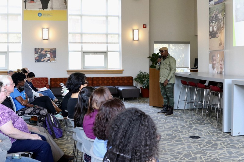 Adams Cassinga, a 2017 alumnus of the UD Mandela Washington Fellowship, spoke to a group at UD's College of Agriculture and Natural Resources (CANR).