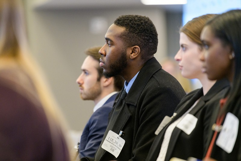 """I'm impressed that so many UD alumni are willing to take time out of their days to connect with undergraduates,"" said UD Jymere Stillis-Standford, who was a senior in the spring of 2020, on the networking trip to Manhattan. ""The job search has been exhausting so far, but their encouragement is a morale boost."""