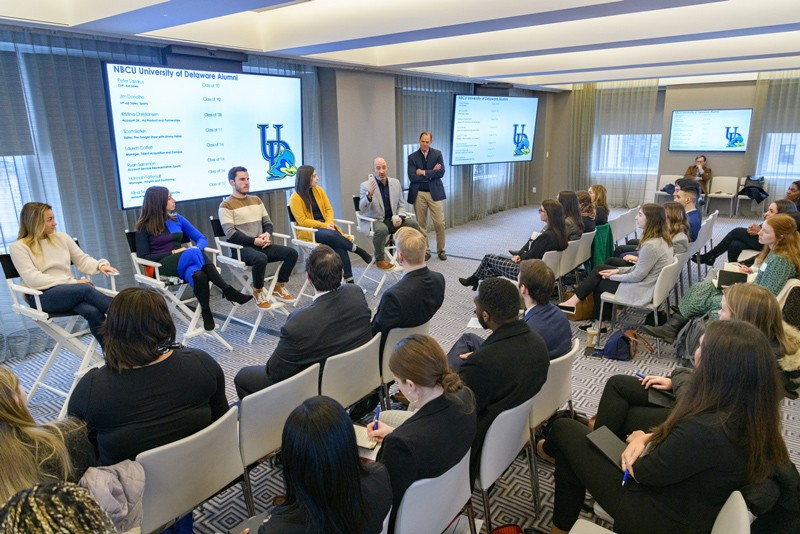 This photograph was taken in February, before the coronavirus (COVID-19) pandemic necessitated wearing facial coverings and physical distancing. NBC employees who graduated from University of Delaware between the years 1992 and 2019 shared their expertise on interviewing and networking with 26 students on Feb. 7 at NBC Studios in New York.