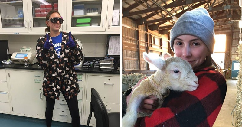 UD alumna Victoria Dortenzio enjoyed her time conducting genetic research in Prof. Carl Schimdt's laboratory. During her senior year capstone course on beef cattle and sheep production, Dortenzio holds her assigned lamb for which she cared throughout the semester.