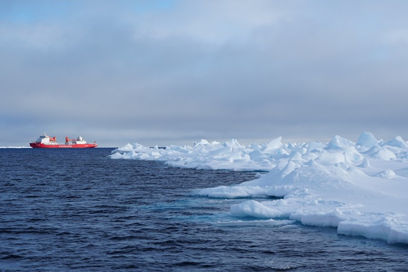 The Icebreaker R/V Xue Long is shown during an August 2016 Chinese National Arctic Research Expedition (CHINARE) in the Arctic Ocean.