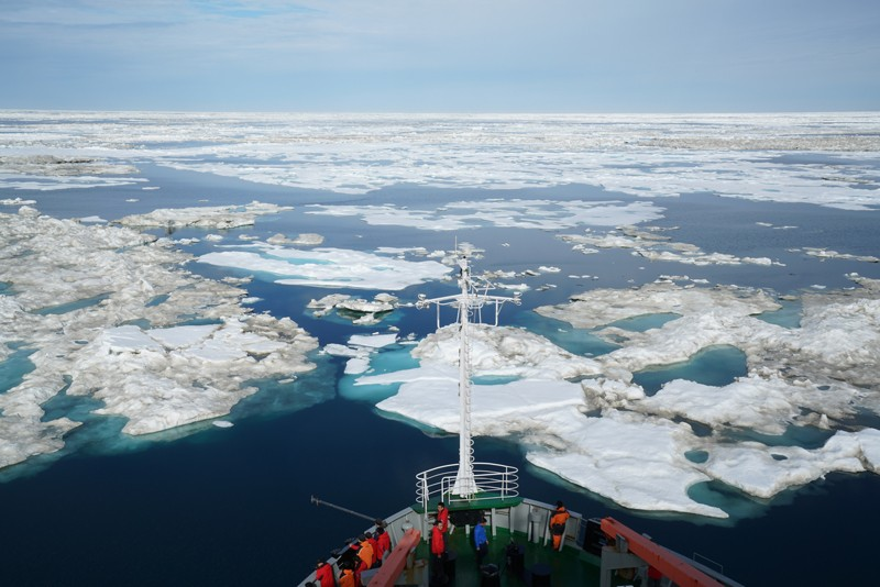 This is a view of the Chukchi Sea during a July 2016 scientific research cruise aboard the Chinese Icebreaker R/V Xue Long.