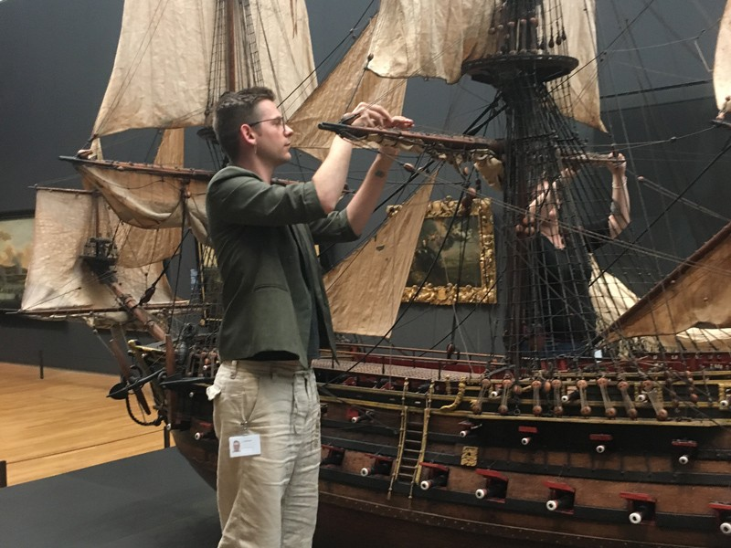 Riley Cruttenden, who will begin the Winterthur/UD Program in Art Conservation in August, works on a 19th century ship model during a 2017 internship with the Rijksmuseum's conservation lab in Amsterdam.
