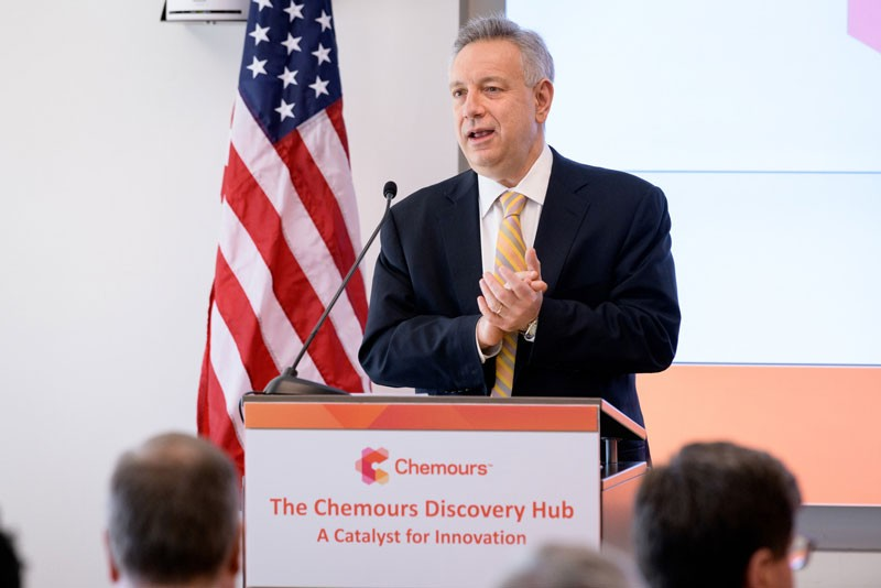 University of Delaware President Dennis Assanis addresses other leaders from the University, Chemours and the community who gathered for a ceremonial ribbon cutting of the company's new facility at UD's Science, Technology and Advanced Research (STAR) Campus.