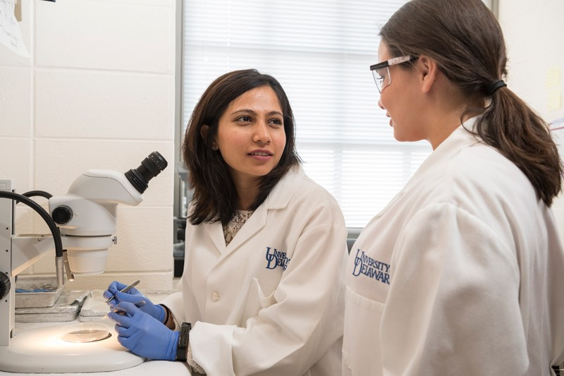 Shaili Patel, CAS14, (left) and Bailey Weatherbee, CAS19, work in Salil Lachke's lab during the summer of 2019. Patel is a doctoral student at UD, and Weatherbee is now pursuing a doctorate at Cambridge University in England as a Gates Cambridge Scholar.