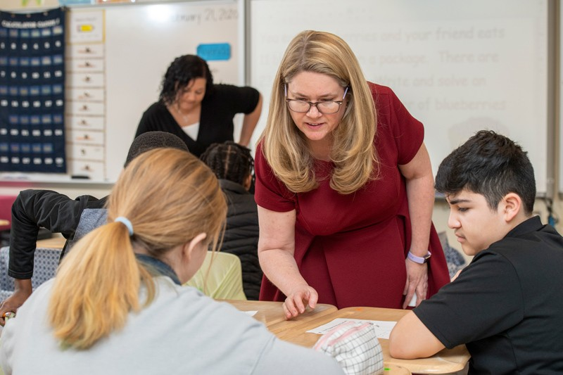 UD Prof. Amanda Jansen (right) collaborated with Milford Central Academy math teacher Brandy Cooper (left) to better understand how revision in math classrooms helps students to learn new concepts.