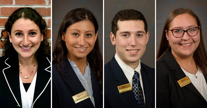 Four UD students who have been accepted into the Marriott Voyage Program are, left to right, Alanna Weiss, Samantha Epstein, Jason Wolfthal and Jillian Honaker.