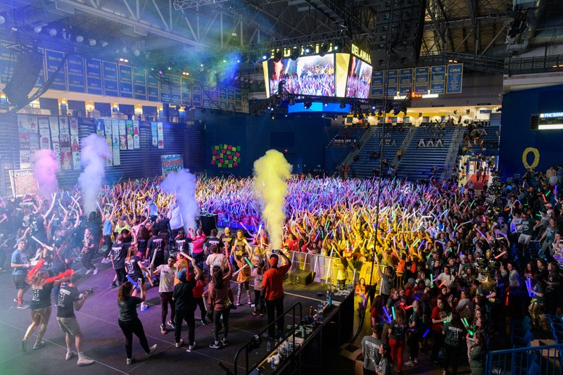 UD students raised $2.25 million to fight childhood cancer during the 2019 UDance event, attended by 4,200 people at the Bob Carpenter Sports Center. The coronavirus situation prompted cancellation of the 2020 event, but students have been raising money all year to help the cause.