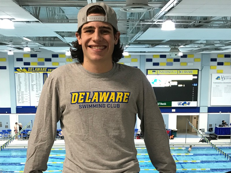 "Liam Vita is an avid member of the Swim Club at UD, which competes against other university clubs in the region. ""It can be easy to get burned out,"" he said, referring to a heavy course load. ""But taking a break to spend some time in the pool, or go for a run or whatever your outlet may be, that makes you more productive and successful in the long run."""