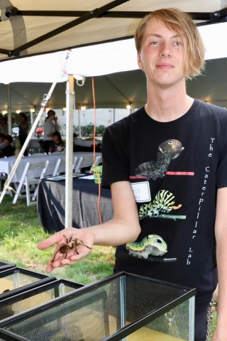 This is a picture of a slightly moody blonde. Not the human — that's Patrick Carney, president of UD's Entomology Club — but Persephone, an Arizona blonde tarantula with barbed hairs on the abdomen that can be shot into anyone who annoys her.