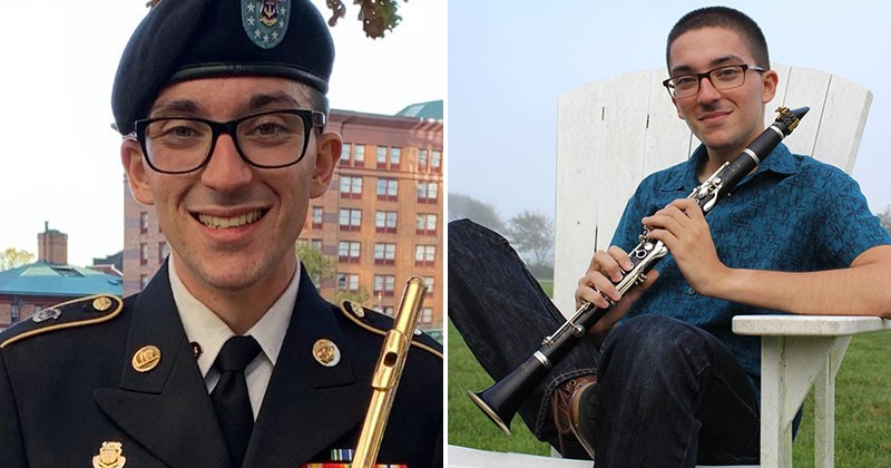 Sgt. Tyler Tashdjian, a music graduate student at UD, is principal flutist in the Rhode Island Army National Guard Band. Specializing in clarinet performance, he is proficient on several woodwind instruments.