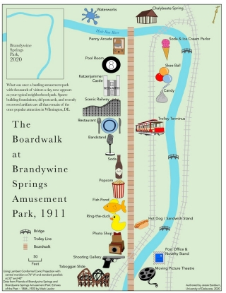 Jessie Eastburn created a map showing the attractions in the amusement park that used to operate in Brandywine Springs Park. The map depicts 1911, the year with the most  attractions and most visitors.