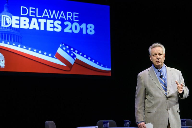The 2020 Delaware Debates will have a different look from those in previous years. This year, the events will instead be live-streamed without an in-person audience from a studio on campus, to comply with coronavirus (COVID-19) health and safety precautions. In this photo from 2018, University of Delaware President Dennis Assanis welcomed the candidates and the live audience to UD's Mitchell Hall.