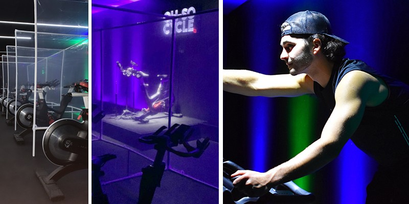 UD entrepreneurship major Blake Armentano pedals one of the bikes in his new spin studio, Oh-So Cycle.