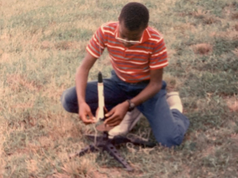 Thomas Epps displayed an interest in engineering from an early age. In this 1988 photo, Epps (age 12) prepares to launch a rocket, under supervision, during a Richmond Area Program for Minorities in Engineering (RAPME) summer program held at Virginia State University.