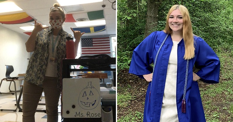 Amanda Rose, who entered UD through the Associate in Arts Program and graduated from the University in 2020, now teaches at her high school alma mater, Cape Henlopen in Lewes, Delaware.