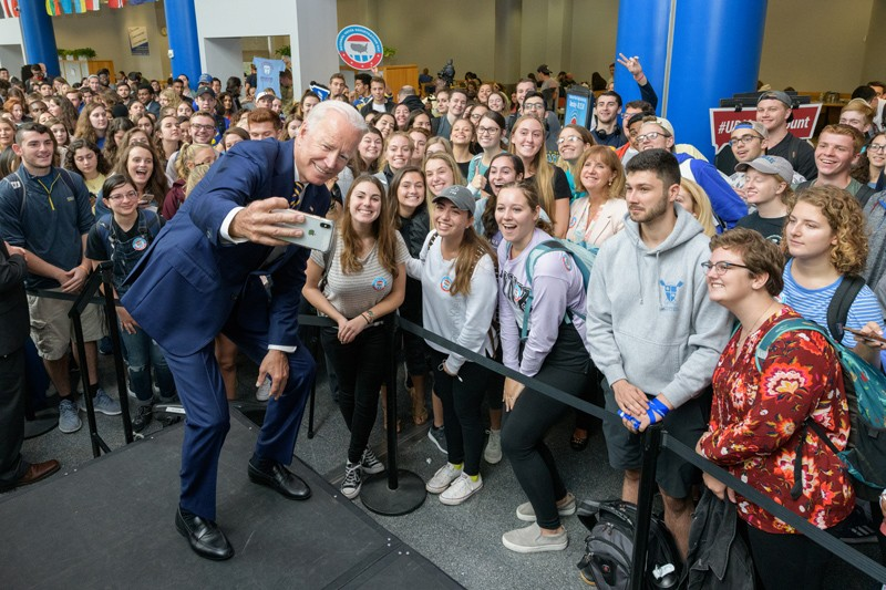 Joe Biden returned to UD in 2018 and visited with students in the Trabant University Center.