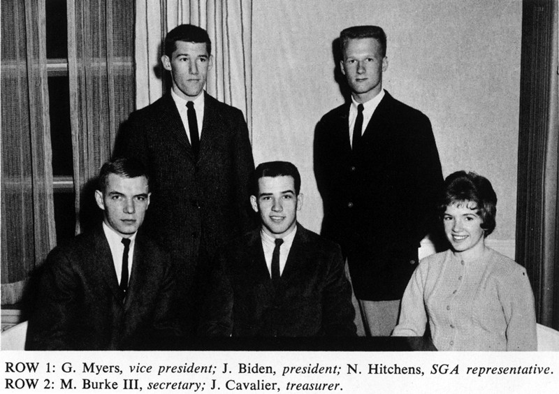 Joe Biden, shown here in the middle of the first row, was the first-year class president for the 1961-62 academic year. This photo is from the 1962 Yearbook.