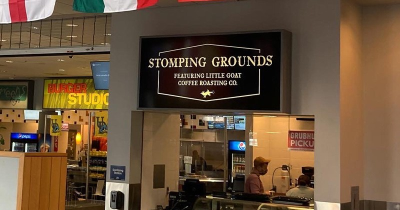 The new Stomping Grounds kiosk in the University of Delaware's Trabant University Center will sell Little Goat Coffee Roasting Co. java.